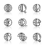 Vector internet icons. Globe set. Simply change Royalty Free Stock Image
