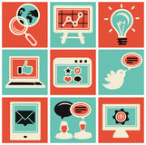 Vector internet marketing icons. Set in retro style Royalty Free Stock Photos