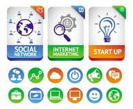 Vector internet marketing labels. Abstract design elements and social media icons Stock Photo