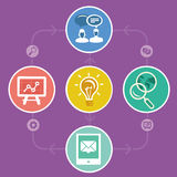 Vector internet marketing strategy. Icons and infographics in flat style Stock Photography