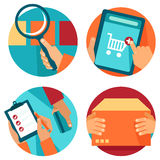 Vector internet shopping icons in flat style. Search, order, pay, deliver Royalty Free Stock Photography