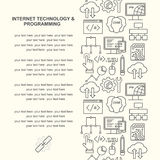 Vector Internet technology and computer programming pattern with linear icons Royalty Free Stock Photography