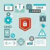 Vector Internet und Informationssicherheitskonzept in der flachen Art Lizenzfreies Stockbild