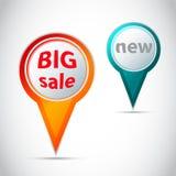 Vector intorno all'indicatore - abbottoni per la grande vendita e nuovo Immagini Stock Libere da Diritti