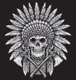 Vector intrépido del jefe del cráneo del nativo americano ilustración del vector