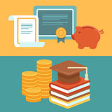 Vector invest in education concept in flat style Stock Photography