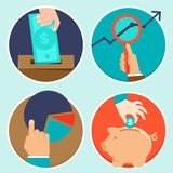 Vector investment and finance concept in fla style. Money and business icons Stock Photos