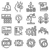 Vector Investment icon set in thin line style. On white background Stock Photography