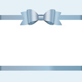 Vector Invitation card with blue holiday ribbon and bow. Royalty Free Stock Photography