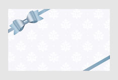 Vector Invitation card with blue holiday ribbon and bow. Gift Voucher Template  with  place for text Stock Photos