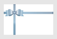 Vector Invitation card with blue holiday ribbon and bow. Stock Image