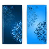 Vector invitation card with blue ornament Stock Image