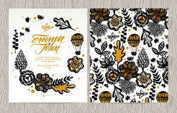 Vector invitation card with flowers, plants, aircraft and balloon. Autumn floral background, greeting card. Card template on wood texture. Wedding invitation Stock Photography
