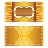 Vector invitation card with frame. Vector invitation card with gold frame and filigree ornament, place for text Stock Photo