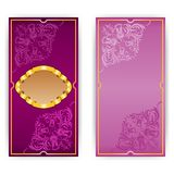 Vector invitation card with frame. Vector vertical invitation card with gold frame and filigree ornament, place for text Royalty Free Stock Photos