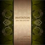 Invitation card with golden pattern and ribbon Stock Images