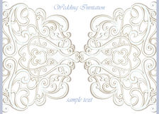 Vector invitation card ornamental lace with damask elements Stock Images