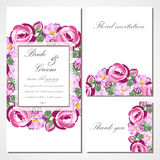 Vector invitation card with roses for wedding, marriage, birthday, Valentines day. Stock Images