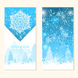 Vector invitation card with snowflakes. Happy New Year and Merry Christmas invitation card. Stock Photo
