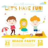 Vector invitation card on summer beach party with. Smiling and happy kids  in a cute and cartoon style. Bright Spring and Summer season background with balloons Royalty Free Stock Photo