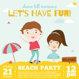 Vector invitation card on summer beach party with. Smiling and happy kids  in a cute and cartoon style. Bright Spring and Summer season background with balloons Stock Photo