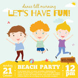 Vector invitation card on summer beach party with. Smiling and happy kids  in a cute and cartoon style. Bright Spring and Summer season background with balloons Stock Photos