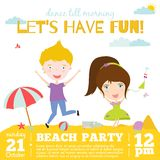 Vector invitation card on summer beach party with. Smiling and happy kids  in a cute and cartoon style. Bright Spring and Summer season background with balloons Royalty Free Stock Photos