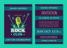 Vector invitation card template opening rock music club with vintage music logo, badge with guitars and microphone. Rock guitar concert, musical show party and Stock Image