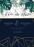 Vector invitation card with tropical leaves. Minimalistic design stock illustration