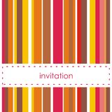 Vector invitation card with vertical bars. Red, yellow and brown vector card or invitation. Background with white area to put your text message. Autumn or Stock Images