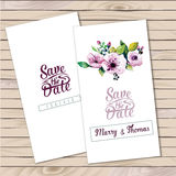 Vector invitation card with watercolor elements. Wedding collection. Save the date with floral elements. Blossom flowers stock illustration