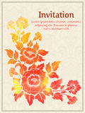 Vector invitation card with watercolor floral element on the light damask background. Arabesque style design. Elegant Royalty Free Stock Image