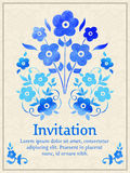 Vector invitation card with watercolor floral element on the light damask background. Arabesque style design. Elegant Royalty Free Stock Images