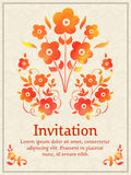 Vector invitation card with watercolor floral element on the light damask background. Arabesque style design. Elegant Stock Photo