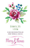Vector  invitation card with watercolor floral Royalty Free Stock Photos