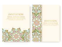Vector invitation, cards with ethnic arabesque elements. Arabesque style design. Elegant floral abstract ornaments. Royalty Free Stock Photos