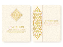 Vector invitation, cards with ethnic arabesque elements. Arabesque style design. Stock Image