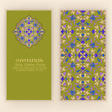Vector invitation, cards with ethnic arabesque elements. Arabesque style design. Elegant floral abstract ornaments. Royalty Free Stock Images