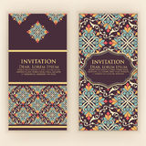 Vector invitation, cards with ethnic arabesque elements. Arabesque style design. Elegant floral abstract ornaments. Royalty Free Stock Photography