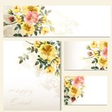 Vector invitation cards with roses antique style Stock Photos