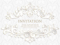 Vector invitation, cards or wedding card with damask background and elegant floral elements. Royalty Free Stock Image