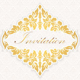 Vector invitation, cards or wedding card with damask background and elegant floral elements. Stock Photo