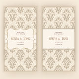 Vector invitation, cards or wedding card with damask background and elegant floral elements. Stock Photography