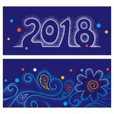 Vector invitation with dotted number 2018, curly lines and swirls, orange and white snowflakes on the blue background. Royalty Free Stock Photos