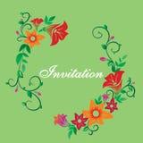 Vector invitation with flower ornament green vector illustration