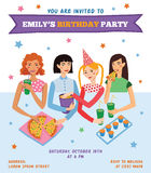 Vector Invitation Flyer Card For Teenage Girl's Birthday Party Stock Photo