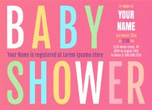 Baby shower invitation. Vector invitation fof Baby Shower with colorful letters. Baby shower card in retro style Royalty Free Stock Image