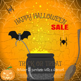 Vector invitation of Halloween sale poster with broom, magic cauldron, spider, bat, pumpkin on the cracked background. Royalty Free Stock Image