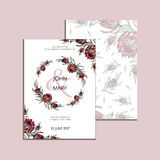Vector invitation with handmade floral elements and flowers of protea. Modern Wedding collection. Thank you card, save. Thank you card, save the date cards, menu Stock Images