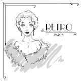 Vector Invitation of Mafia Party. Vector retro Girl Stock Photo